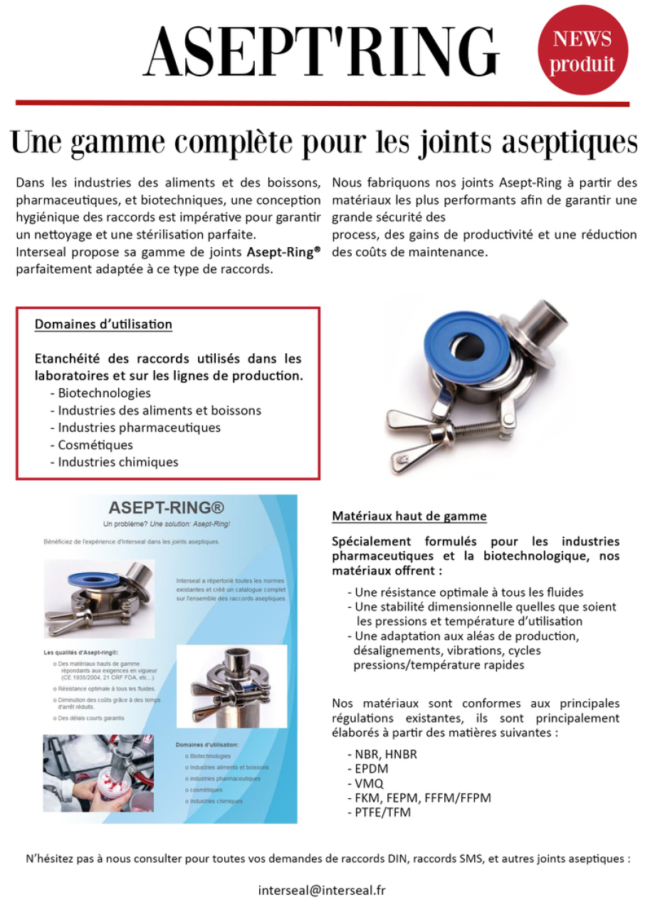 Asept'ring, raccord sms, raccord din, clamp, joint aseptique, iso2852, Gylon®